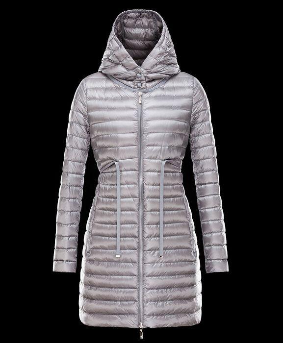 Acheter moncler BARBEL manteau doudoune longue femme capuche gris officiel boutique