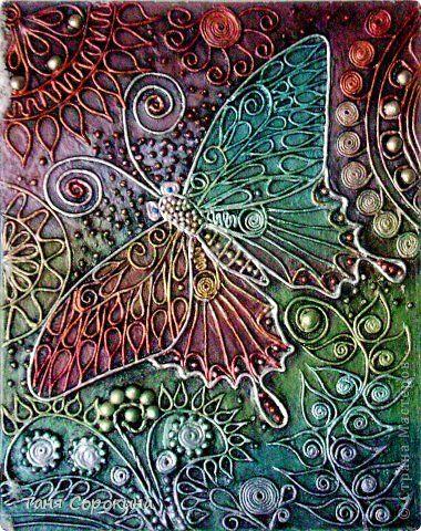 Поделка изделие Аппликация из скрученных жгутиков Полетим на радугу Пейп-арт Салфетки