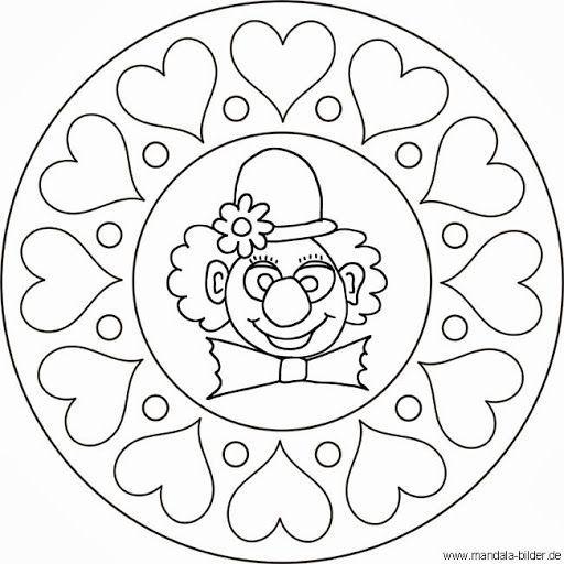 Mandala Clown Karneval Clown Karneval Mandala Addobbi Di Carnevale Biglietti Di San Valentino Disegno Di Mandala