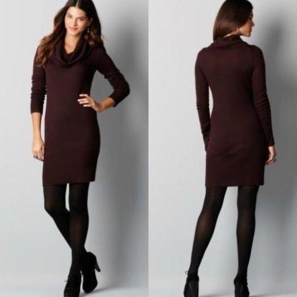 Maroon Ann Taylor LOFT cowl neck sweater dress Ann Taylor LOFT cowl neck sweater dress in maroon (purple/red). Size Small Petite (SP). MAKE ME AN OFFER! LOFT Dresses Mini