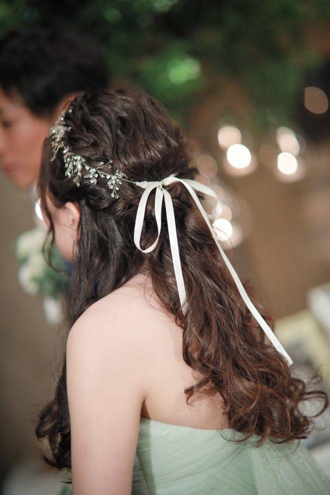 ハーフアップ 結婚式の花嫁髪型 2019年最新版 ヘアスタイル別アレンジ画像まとめ ウエディング ヘア ハーフアップ ウェディング ヘアスタイル 花嫁 髪型
