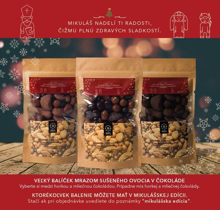 Doprajte deťom zdravšiu alternatívu mikulášskeho balíčka Originálny darček na Mikuláša v podobe mrazom sušeného ovocia značky BRIX  Blíži sa deťmi najobľúbenejší sviatok v roku – Mikuláš a rodičia už začínajú rozmýšľať, čo zahrnúť do mikulášskeho balíčka. Značka BRIX – Grown for flavour si pri tejto príležitosti pripravila limitovanú edíciu balení mrazom sušeného ovocia v čokoláde. Táto kombinácia je vhodná pre malých i veľkých konzumentov a je 100% zdravou maškrtou do čižmy.