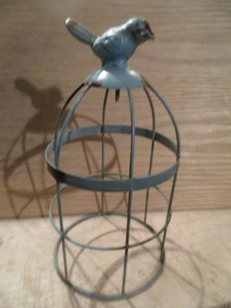 Vintage Shabby Metal Bird Cage Wire Table Rustic Decor