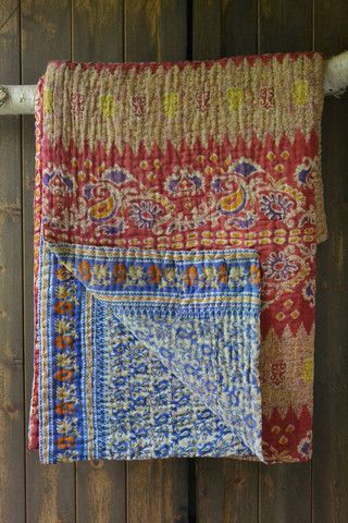 This beautiful kantha quilt is made from vintage saris by Basha, a social enterprise in Bangladesh that helps victims of sex trafficking escape the streets by providing a safe haven, training and dignified employment making traditional kantha quilts. Each design is completely unique and can never be repeated! Available at Decorator's Notebook (200x200cm £165)