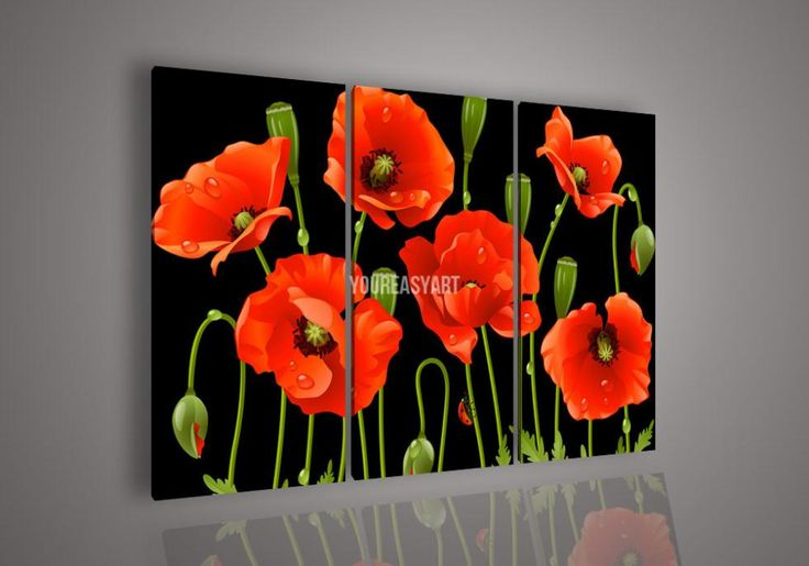 3 Piece Wall Art No Framed Modern Abstract Acrylic Flower Red Poppy Oil Painting On Canvas Paintings Modern Set Artwork picture-in Painting ...