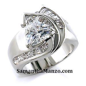 Trillion Solitaire Baguette Round Cz Engagement Wedding Ring