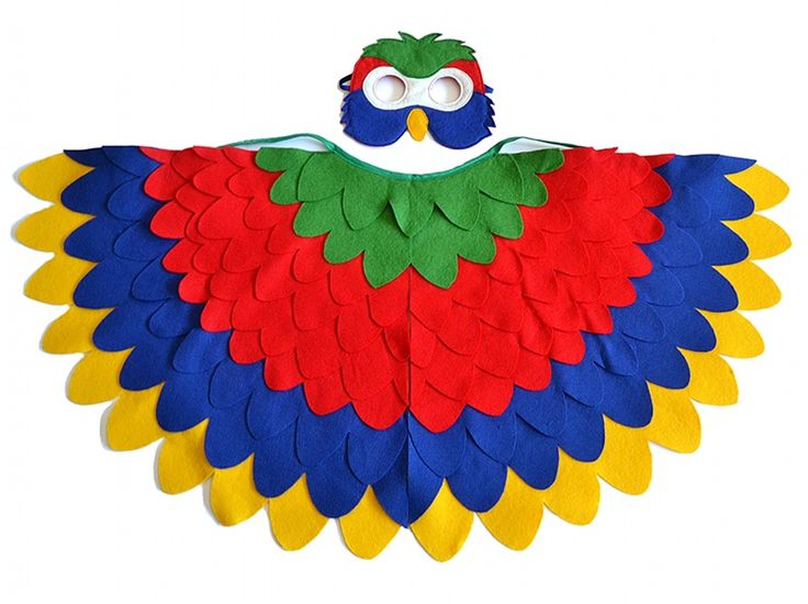 Parrot costume for kids and toddlers in the main prime colors. Halloween parrot costume for young children and toddlers. Kids' bird costume for Carnival.