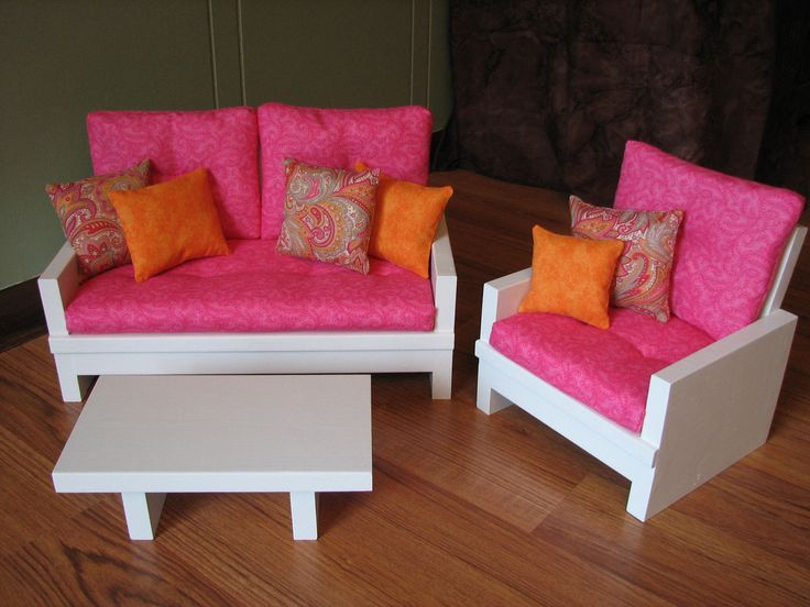 """American Girl sized / 18"""" Doll Living Room furniture set - Loveseat/Chair/Table in pink/tangerine/paisley"""