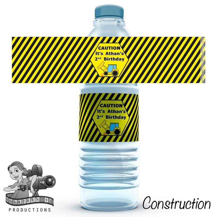 Construction Water Bottle Labels by fourteen92prod on Etsy https://www.etsy.com/au/listing/480662704/construction-water-bottle-labels