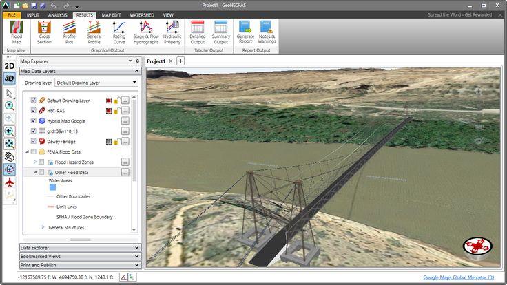HEC-RAS 3D model of the Dewey Bridge. The Dewey Bridge, built in 1916, originally carried SR-128 across the Colorado River. The bridge featured an all wood deck measuring 502 feet (153 m) long, 10.2 feet (3.1 m) wide from support to support and 8 feet (2.4 m) wide from rail to rail. https://en.wikipedia.org/wiki/Utah_State_Route_128