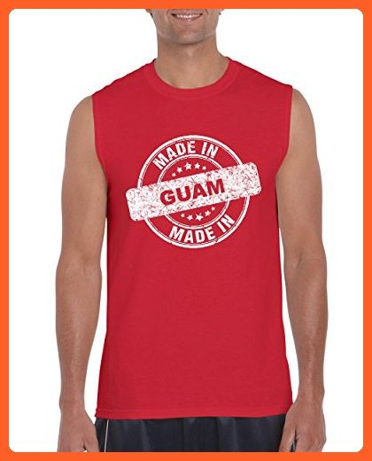 Ugo Made in GU Guam Flag Hagatna Dededo Travel Map Home of University of Guam UOG Ultra Cotton Sleeveless Men's T-Shirt - Cities countries flags shirts (*Partner-Link)