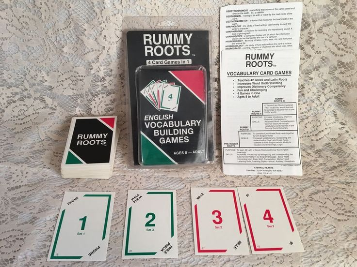 Rummy Roots English Vocabulary Building Games Ages 8-Adult 4 Games in 1 Memory | Toys & Hobbies, Educational, Alphabet & Language | eBay!