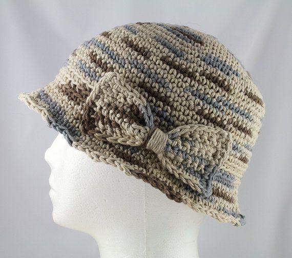 Cloche hoed in beige bruine en grijze de door TheCardcraftersCove