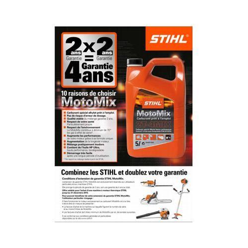 ANDREAS STIHL SAS : Découvrez l'extension de garantie STIHL MotoMix de 4 ans au total, exclusivement réservée aux utilisateurs particuliers et aux machines STIHL, valable jusqu'au 31 décembre 2015. L'extension de garantie STIHL MotoMix proroge la période de garantie de 2 ans, soit une garantie de 4 ans au total. L'extension de garantie STIHL MotoMix est valable pour l'achat d'une machine à moteur thermique STIHL et ce, jusqu'au 31 décembre 2015.