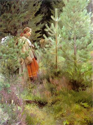 My favorite Anders Zorn painting.  Reminds me of my Great Grandmother as a girl, living in the woods.