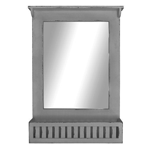 Distressed Rustic Entryway Wood Wall Mirror With Storage Bin (Distressed  Grey) Home Office Collection