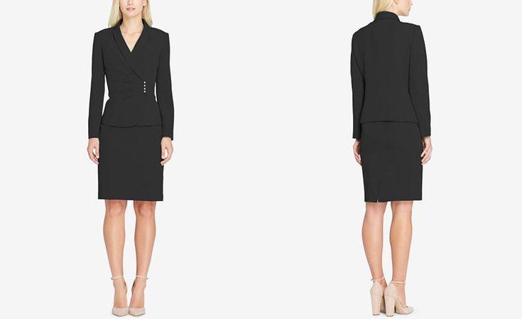 Tahari ASL Shawl-Collar Asymmetrical Skirt Suit - Suits & Suit Separates - Women - Macy's
