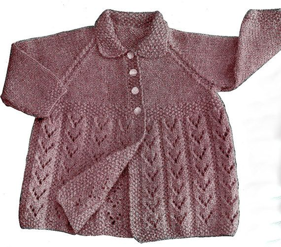 Baby Cardigan PDF Knit Pattern INSTANT by SuesUpcyclednVintage