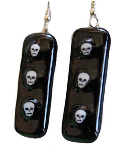 Jewels of Fire Triplet Skull Earrings for Halloween