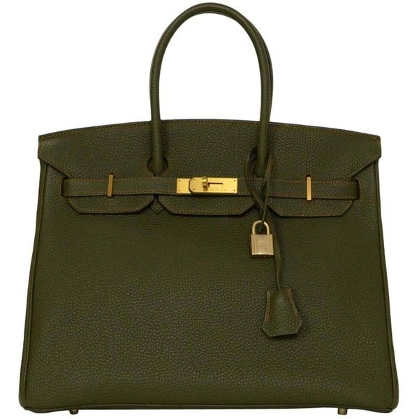 Hermes Olive Green Togo Leather Special Order 35cm Birkin Bag GHW ($17,110) ❤ liked on Polyvore featuring bags, handbags, real leather purses, green purse, army green purse, leather handbags and leather purse