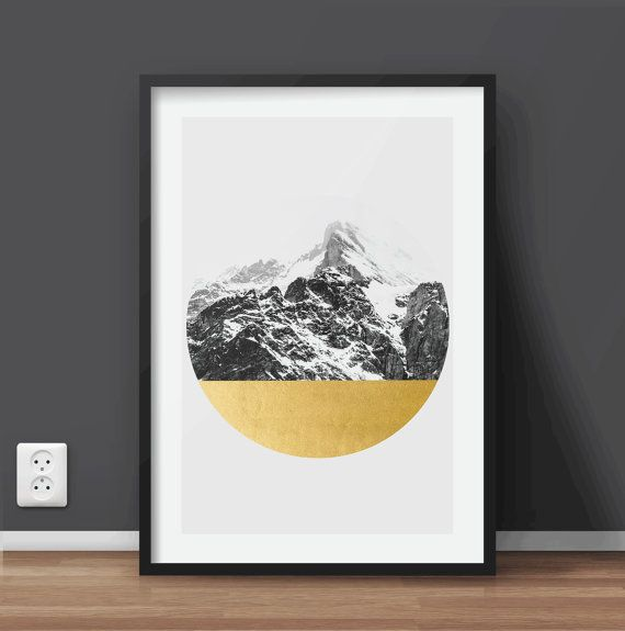 Geometric Mountain Landscape Print Wall Art by QuoteArtShop