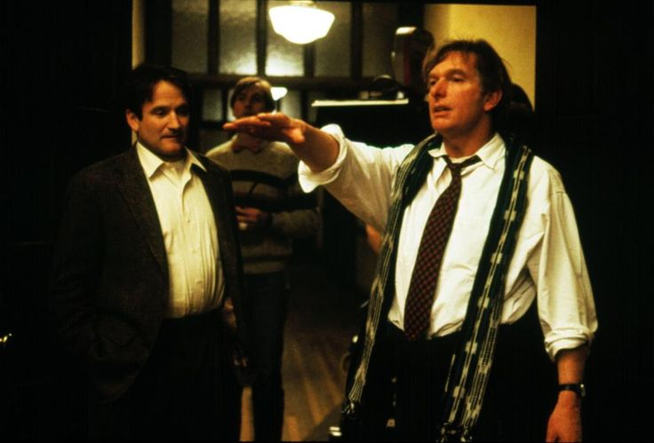 Robin Williams and director Peter Weir on the set of Dead Poets Society (1989)