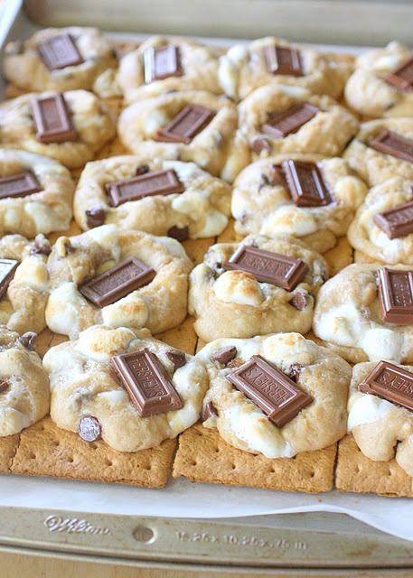 S'mores Cookies -   Graham crackers topped with chocolate chip/marshmallow cookie dough, add bits of a hershey bar a few minutes before they are done baking.