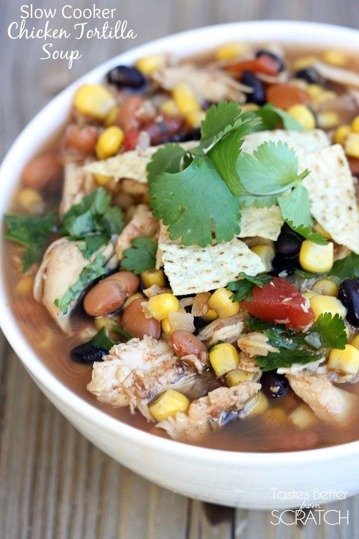 Slow Cooker Chicken Tortilla soup recipe on TastesBetterFromScratch.com