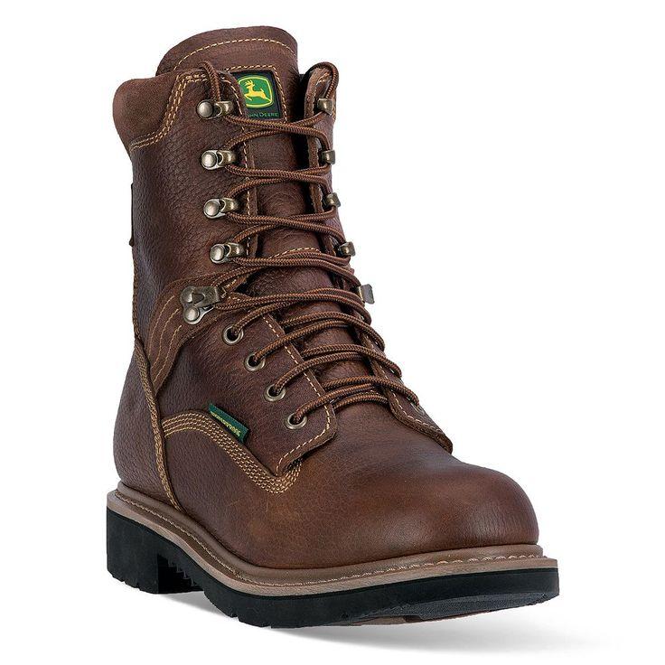 John Deere Men's Waterproof Steel-Toe Boots, Size: medium (10), Brown