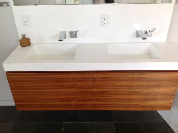 Oiled Teak Vanity with Custom Corian Top and Integrated Sinks