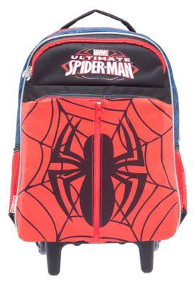 Mochilete Sestini Spider-Man Vermelho, com estampa frontal do super-herói em alto relevo, sobreposição com emblema da personagem e dois bolsos na parte frontal. Possui manopla retrátil com 60cm, rodinhas e fecho por zíper.