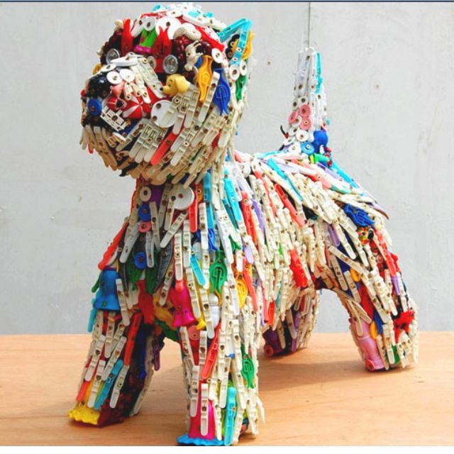 """Recycled art OMG - it's perfectly captured the """"unmade bed"""" shagginess of my Toto!"""