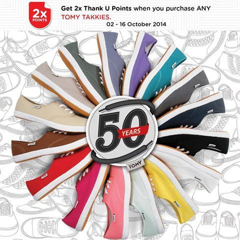 Edgars are celebrating 50 years of TOMY Takkies.  Buy a pair before the 16th October and receive DOUBLE Thank U points!