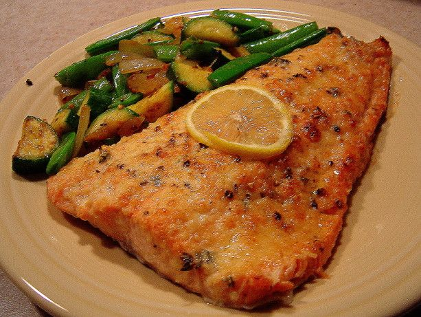 Easy Lemon Parmesan Baked Salmon Recipe - Food.com.  Substituted Italian seasoning for the thyme.  Fast, easy and delicious!