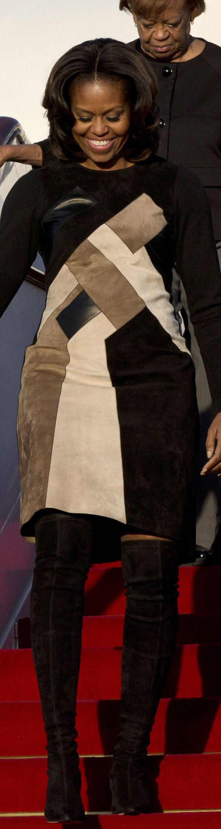 Michelle Obama flew to China in a mosaic Derek Lam dress.