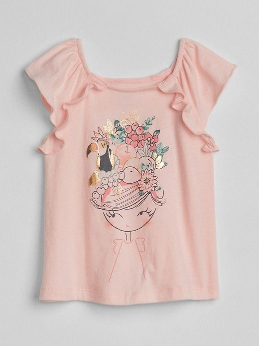 8f86c7de4 Gap Baby Metallic Graphic Flutter T-Shirt Pink Girl | Products ...