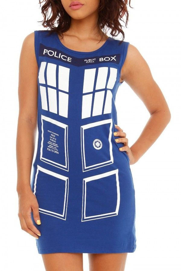 Cool Doctor Who Inspired TARDIS Dress; would look so cute with a blazer, tights, and combat boots, said one poster.  I say tights, boots, celery stick and scarf ;)