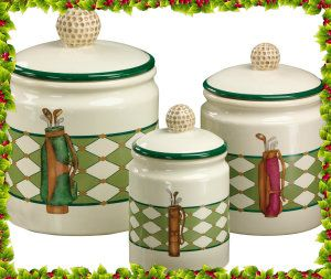 Golf Gifts & Gallery Clubhouse Collection Golf Bag Canister Set http://theceramicchefknives.com/ceramic-canister-sets-beautiful-long-lasting-gifts/
