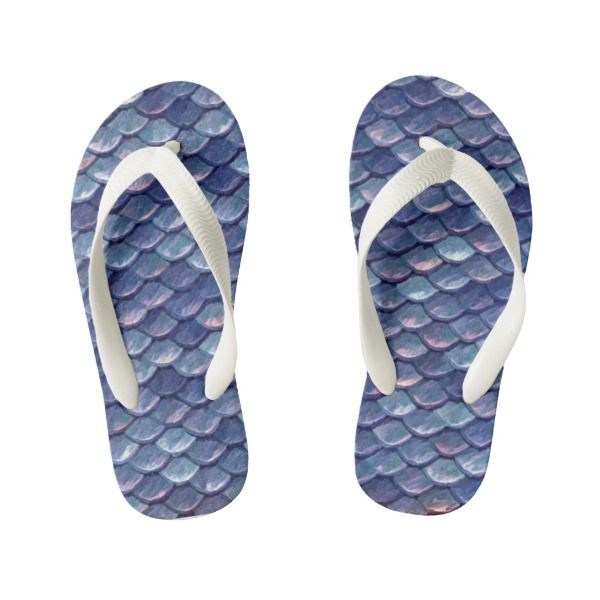 Veata Atticus Store | Mermaid Sea Blue Scales Kid's Flip Flops | available in adult sizes too | mermaids, scales, accessories, shoes
