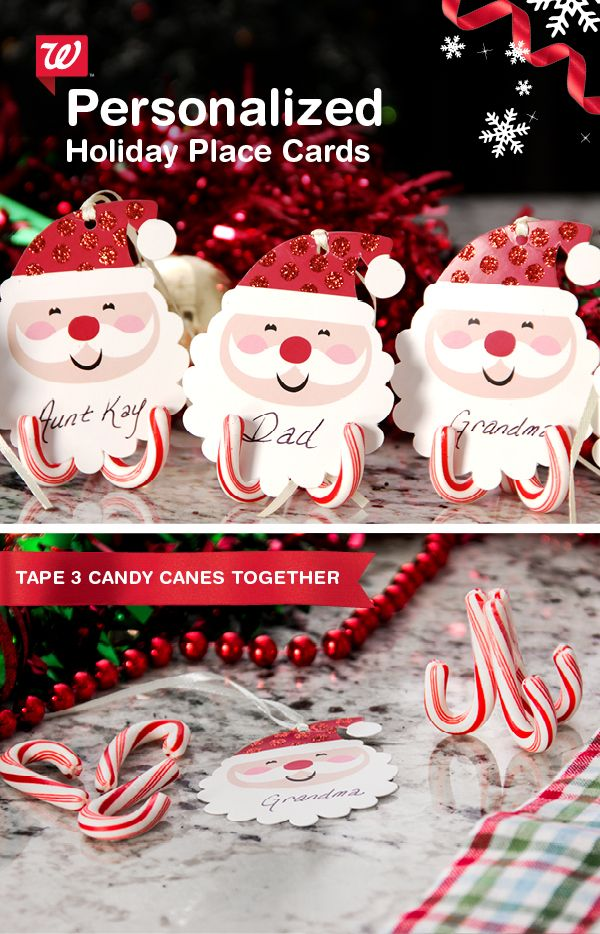 Make personalized—and edible—holiday place cards! Simple tape together mini candy canes upside-down. Then insert gift cards with the appropriate name. Shop mini candy canes on Walgreens.com now!