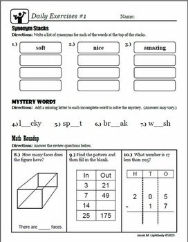 This product was designed to provided daily mixed reviews to help students retain learning.For ELA, this installment covers: synonyms, antonyms, adjectives,spelling patterns, subject verb agreement, possessive pronouns, sentence writing, nouns, verbs, and cloze reading.For Math, this installment covers: word problem, problem solving, measurement (temp.), addition, subtraction, multiplication, division concepts (no straight long division), fractions,geometry, and perimeter.