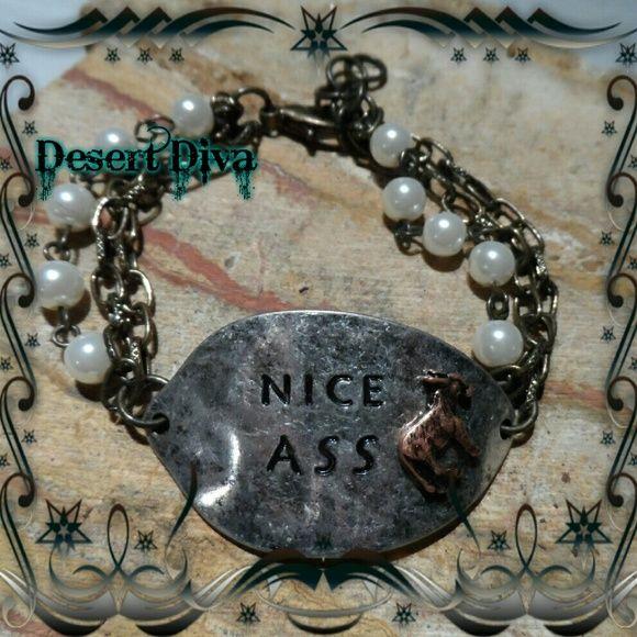 Nice Ass Hammered Bracelet Pearl bead accent chain bracelet Jewelry Bracelets