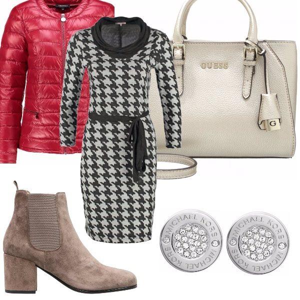 Un mix di colori per questo inizio autunno. L'abito in bianco e nero delizioso per l'ufficio e il tempo libero. I toni ghiaccio per la borsa e lo stivaletto scamosciato molto chic. Il piumino rosso ravviva il tutto nelle prime giornate di freddo.