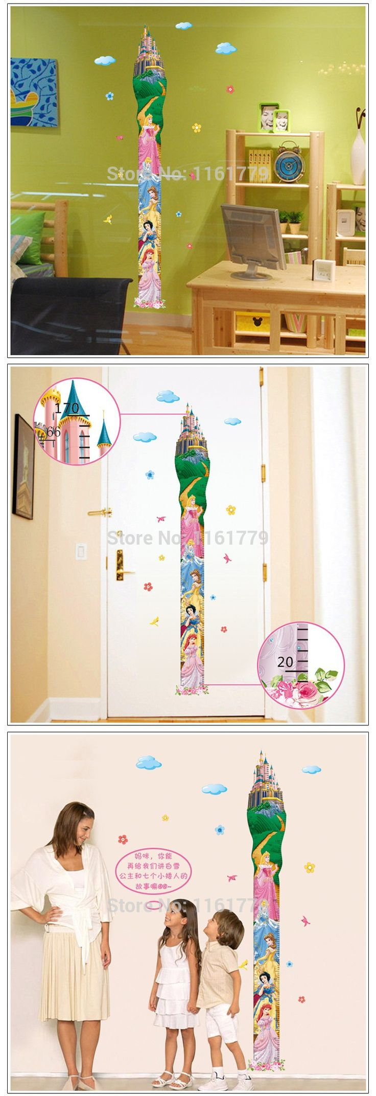 Removable Princess Castle Girl room Height Tower Growth Chart Wall sticker for Girls/Kids/Children Bedroom Wall Mural,two sheets
