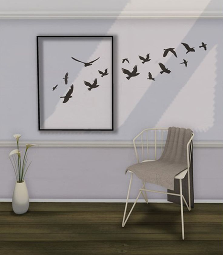 How's this for a great idea? Have your silhouettes of birds fly out of the frame. This ingenious artwork can be made with stickers, or if you re talented you can paint them by hand.