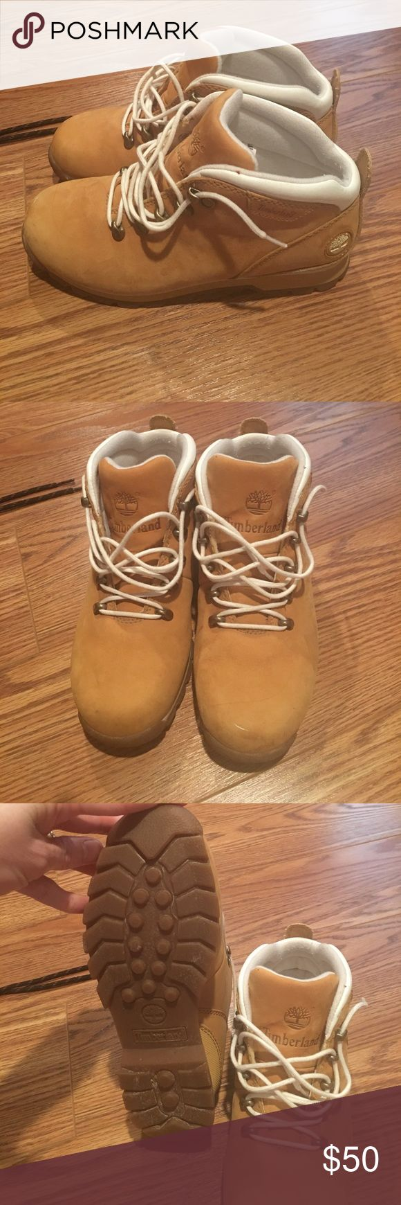 Ladies Timberland boots Tan suede material with white trim. Size 7 women's. Like new Timberland Shoes Lace Up Boots
