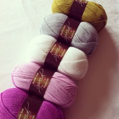 Lime, silver, white, clematis and magenta in Stylecraft special DK
