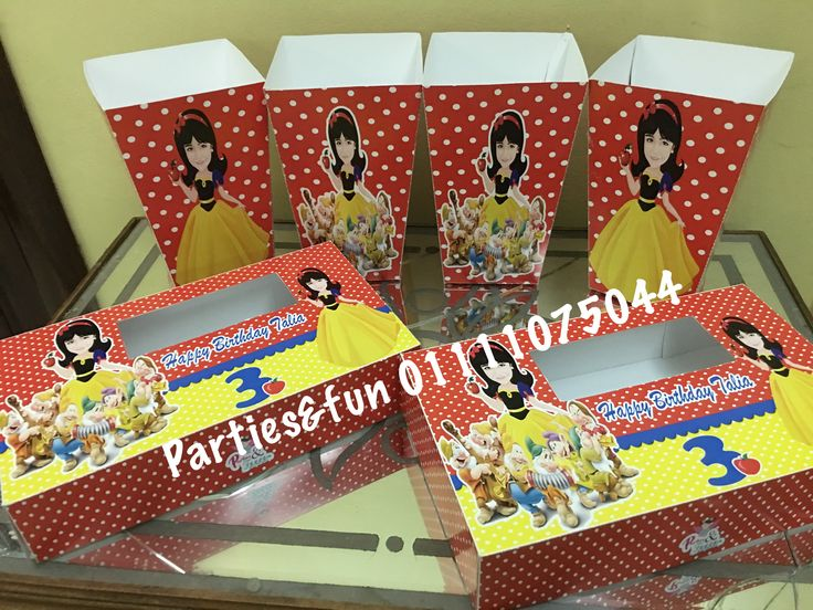 Snow White birthday party  Popcorn boxes and tissue box  Facebook: partiesandfunegypt  Mobile: 01111075044