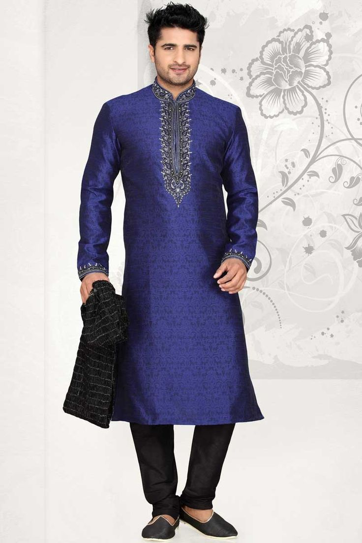 Royal Blue Jacquard N Brocade Kurta Pyjama