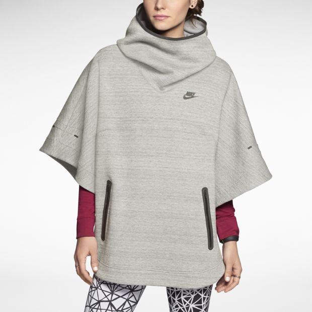 Grey poncho by Nike. I guess you wouldn't really sport in this (perhaps hike?), but it's very cool, ain't it?